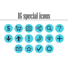 Vector Illustration Of 16 Member Icons. Editable Pack Of Magnifier, Letter, Publish And Other Elements.