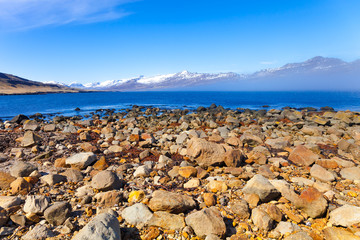 Stony coast of the fjord in the east of Iceland
