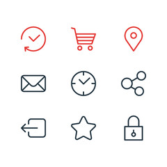 Vector Illustration Of 9 App Icons. Editable Pack Of Share, Letter, Rating And Other Elements.