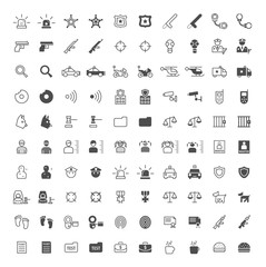 Set of 100 Police Minimal and Solid Icons on White Background . Vector Isolated Elements