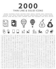 Set of 2000 Minimal and Solid Icons on White Background . Vector Isolated Elements