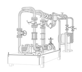 Wire-frame industrial equipment of oil pump