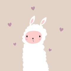 Cute white llama. Animal kids graphic. Vector hand drawn illustration.
