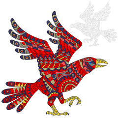 Illustration of abstract red raven, bird and painted its outline on white background , isolate