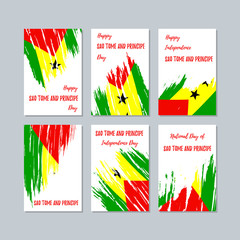 Sao Tome and Principe Patriotic Cards for National Day. Expressive Brush Stroke in National Flag Colors on white card background. Sao Tome and Principe Patriotic Vector Greeting Card.