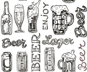 October fest. Vector  beer glasses and mugs, hat, barrel, pretzels in hand drawn style. Drink beer. Vector illustration.
