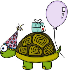 Birthday turtle with balloon and gift