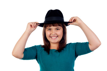Adorable small girl with black hat