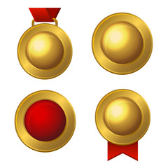 Golden Labels and Medals Set. Vector