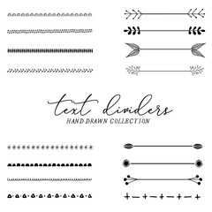 Text dividers hand drawn, branches separators, vector illustration