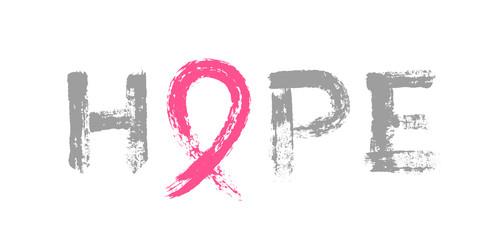 Hope Lettering Pink Ribbon Breast Cancer Awareness