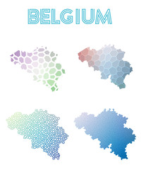 Belgium polygonal map. Mosaic style maps collection. Bright abstract tessellation, geometric, low poly, modern design. Belgium polygonal maps for infographics or presentation.