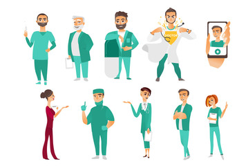 Big set of doctors, therapists, nurses, surgeons, medical staff, hospital employees, smartphone application, flat cartoon vector illustration isolated on white background. Flat cartoon doctor staff