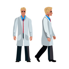 Doctor man character. Flat design