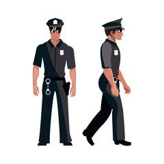 Policeman in american cop uniform