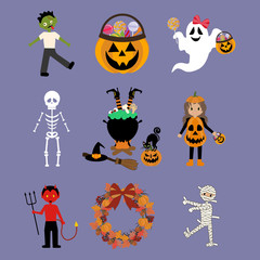 Halloween illustrations set