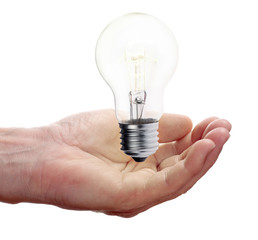 man palm and incandescent electric lamp isolated on white