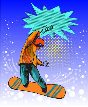 Snowboard jumping guy pop art comic style illustration