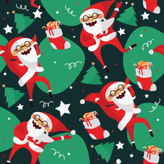 Set with lovely dancing Santa Claus, hand drawn in different dance steps. Vector collection with lovely character with closed eyes