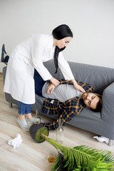 Doctor helping an alcoholic