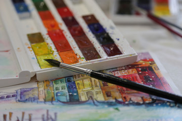 Palette, Watercolor,  brush, hobby yellow