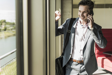 businessman standing by window, making a phone call