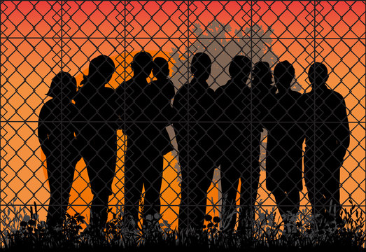 silhouette of refugees