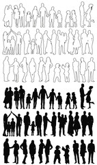 silhouette, sketch people vector, collection