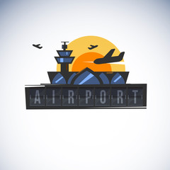 airport and plane with typographic or logotype - vector