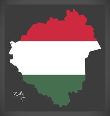 Zala map of Hungary with Hungarian national flag illustration