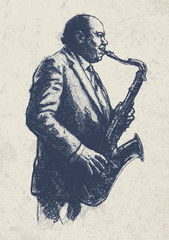 Jazz musician. drawing style