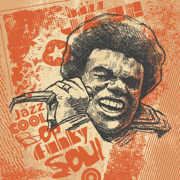 "Retro design ""Jazz""  with afro soul singer with microphone and textures."