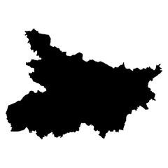 Bihar black map on white background vector