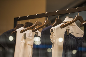 Wall Mural - Women clothing on racks in a fashion store