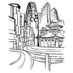 Sketch with skyscrapers, ancient buildings and roads of Japan.