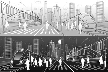 City and transport illustration. Big bridge. Pedestrian crossing. Passengers get in train, people at station. Modern town on background, towers, skyscrapers. Gray and white lines. Vector design art