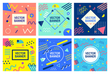 Fotobehang Pop Art Memphis style banner templates collection