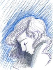 Depressed woman concept illustration