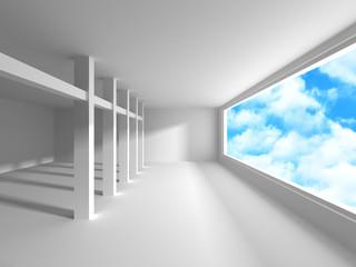 Empty white room interior with window to sky