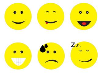 emoticon emoji set on white background. emoticon sign.