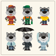Set funny wolf in different clothing: sportsman, worker, manager, summer, autumn, sleepwear. Collection isolated Wolf in clothing in cartoon style.