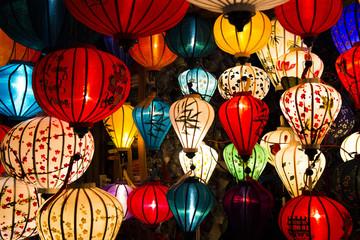 Lantern lighting on full moon night in Hoi An, Vietnam