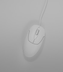 White computer mouse with white background,Minimalist style