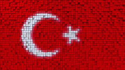 Stylized mosaic flag of Turkey made of pixels, 3D rendering