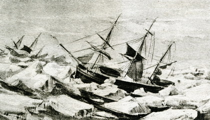 Ross expedition in the Antarctic -  vessels HMS Erebus and HMS Terror