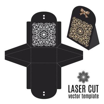 Vector wedding card laser cut template box.
