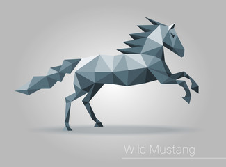Polygonal horse, low poly isolated animal, triangular polygonal vector. For brochure, flyer, poster, booklet, leaflet, cd cover design, postcard, business card, annual report. vector.