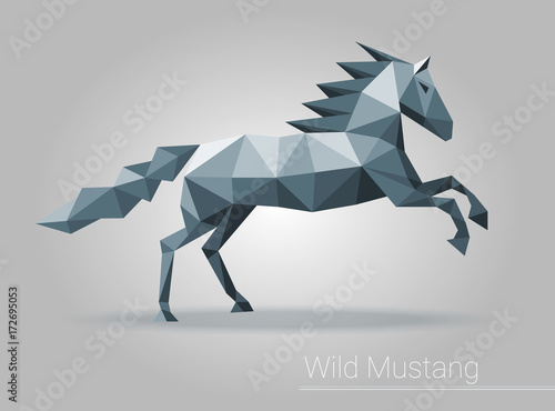 Polygonal Horse Low Poly Isolated Animal Triangular Vector For Brochure Flyer