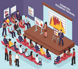 Isometric Business Training Illustration