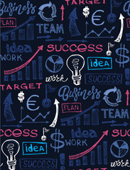 Drawing a line leading to the business success. Business vector concept illustration. Creating path to success.